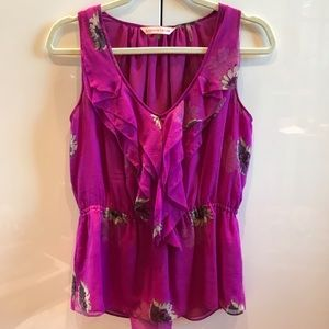 Rebecca Taylor Floral Ruffle top size 4